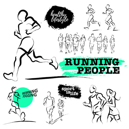Vector hand drawn active people sketch isolated on white background. Running man silhouette. Ink drawing. Sportsman figure. Human jogging. Brush stroke, contour drawing. Artistic sport logo element. Stock fotó - 60935169