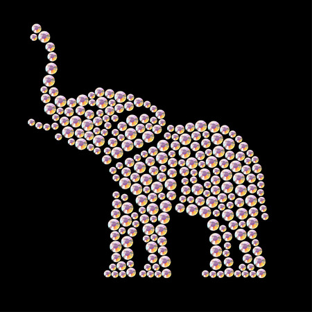 rhinestone: Vector animal portrait made with rhinestone gems isolated on black background. Animal logo, african animal icon. Jewelry pattern, hand made product. Shining pattern. Animal silhouette, elephant stand.