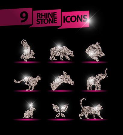 rhinestone: Vector animal portrait made with rhinestone gem set isolated on black background. animal icon. Jewelry pattern, hand made product. Shine pattern. Animal silhouette, flying bird icon.