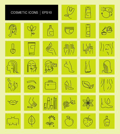 hair product: Vector collection of flat simple cosmetic and medicine icons isolated. Beauty symbol. Linear icons set. Cosmetic natural eco product, mammology symbols, woman health care, skin care, body, hair icon.