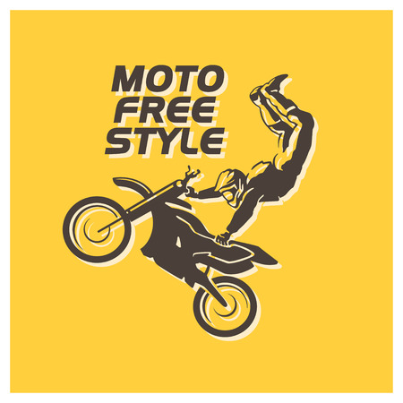 Motofree vector flat moto free style racer icon isolated on yellow background