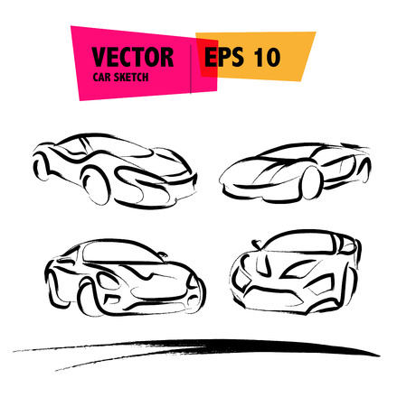 ink drawing: Vector car sketch isolated. Hand drawn car body. Auto advertising, poster, placard, business card, leaflet. Car rent, auto repair, auto saloon, insignia. Ink drawing.