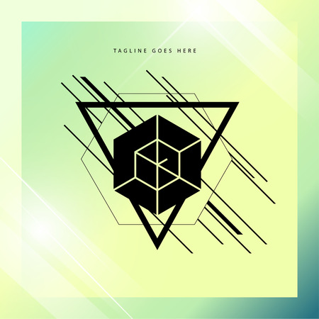 album cover: Vector abstract geometric illustration with triangle, polygon flat shapes, simple lines and gradient background. Music album cover design concept. Geometric concept.