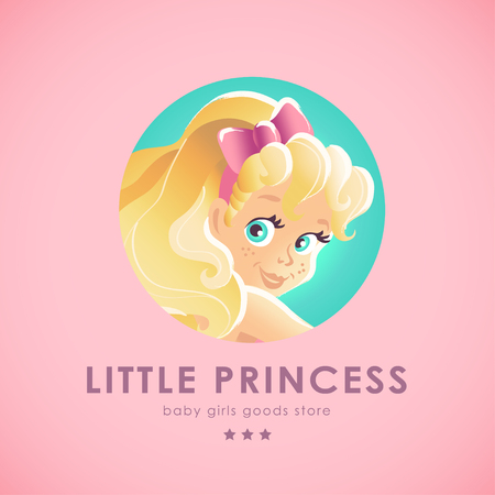 baby goods: Vector smiling happy little girl portrait isolated. Baby store, girls shop insignia. Children illustration. Little lady goods market. Blonde long haired girl. Kid toys store symbol.