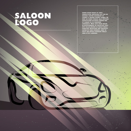 car rent: Vector car sketch isolated. Hand drawn car body. Auto advertising, poster, placard, business card, leaflet. Car rent, auto repair, auto saloon logo, insignia. Ink drawing.