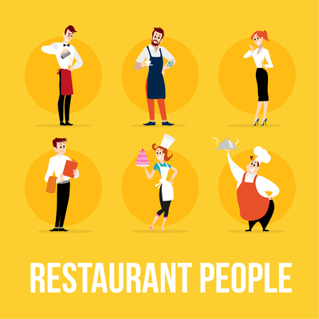 food industry: Vector flat profession characters. Human profession icon. Friendly, happy people portrait.  Restaurant team, food industry work, people set. Woman, girl, lady icon. Man, boy, guy icon. Cartoon style. Illustration