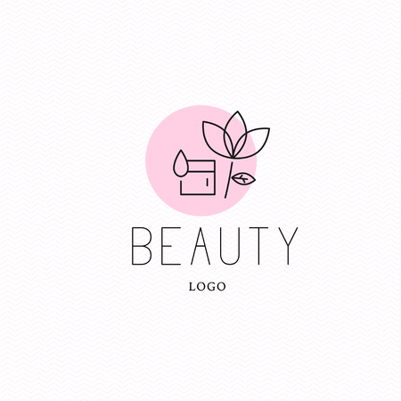 Vector cosmetic logo design template. Beauty brand mark, health care, medicine company insignia isolated. Skin care. Woman health, linear flat simple beauty signs. Natural eco product label. Stock Illustratie