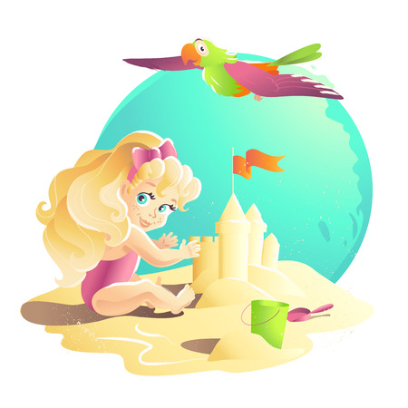 bird illustration: Vector summer cartoon illustration. Flat young baby girl character sitting on sand playing with sand castle. Bucket, shovel. Children illustration, book cover, advertisement. Banner, placard, print.