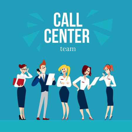 Vector flat profession characters. Human profession icon. Friendly, happy people portrait.  Call center team, office work group, people set. Woman, girl, lady icon. Man, boy, guy icon. Cartoon style.