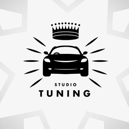 car tuning: Vector flat simple minimalistic car. Auto icon isolated on white background. Repair service  garage, auto tuning studio insignia. Auto design. Auto illustration.