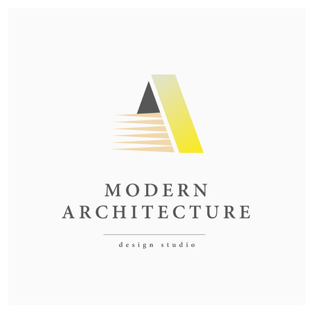 architect office: Vector flat modern architect studio logo design isolated on white background. Urban architect bureau insignia icon. Building company, construction industry brand mark icon.