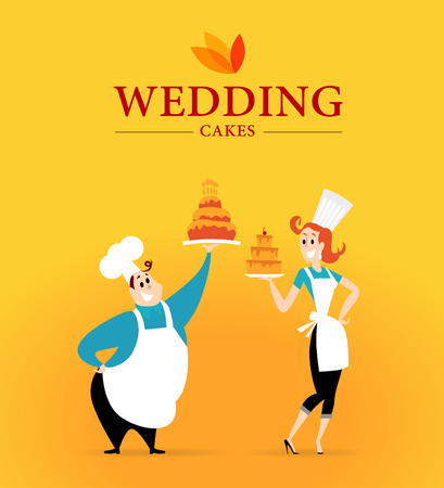 Vector flat profession characters. Friendly, happy people portrait.  Wedding cake company  logo, culinary team, work group, people set. Woman, girl, lady icon. Man, guy icon. Cartoon style.