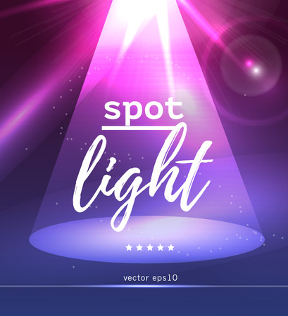 lighting effects: Vector spot light illustration. Abstract colorful picture with soft light ray and text place. Glowing flare, lighting effects. Background for banner, poster, leaflet, business card. Illustration