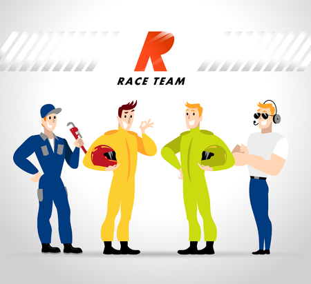 Vector flat profession characters. Human profession icon. Friendly, happy people portrait.  Sport race team, car service group, people set. Auto logo, insignia. Man, boy, guy icon. Cartoon style.