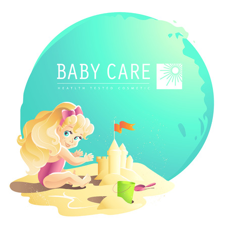 Vector baby care cosmetic design. Little baby girl playing on the sand friendly cheerful character. Cartoon style. Happy kid portrait. Summer holiday illustration. Flat icon children illustration