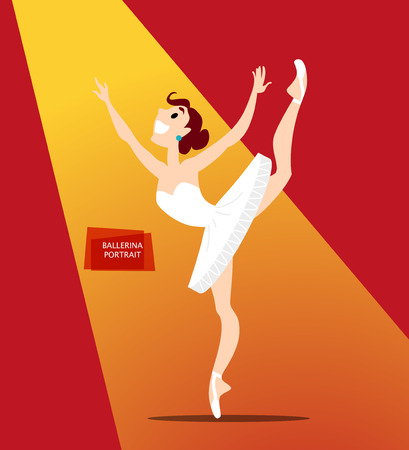 Vector flat friendly smiling person character portrait. Ballerina dancing in spotlight portrait isolated. Cartoon style. Human profession icon. Awesome smiling girl in white dress.