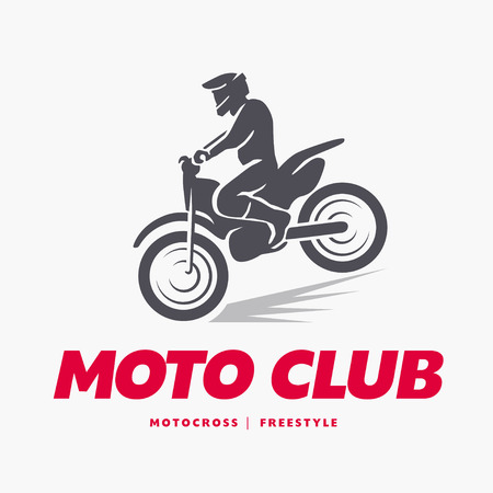 moto: Vector flat moto free style racer icon isolated on white background. Sportsman, athlete jumping with motorcycle. Extreme sports. Sport club banner, advertisement, flayer, leaflet, card design. Illustration