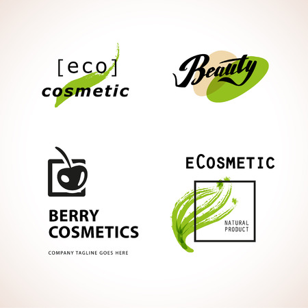 product brand: Vector cosmetic insignia isolated on white background. Eco product brand mark. Cosmetic label design. Cosmetic Beauty industry company. Brush stroke, hand drawn plant, cherry symbol.