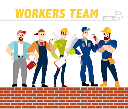 construction crew: Vector flat profession characters. Human profession icon. Friendly, happy people portrait.  Business team, building, construction working group, crew people set. Man, boy, guy icon. Cartoon style.