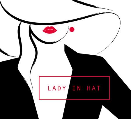벡터 예술 손으로 그린 세련된 젊은 아가씨 세로 흰색 배경에 고립입니다. 패션 여자 모델. 모자에 여자입니다. 뷰티 그림 요소 디자인. 패션 포스 일러스트
