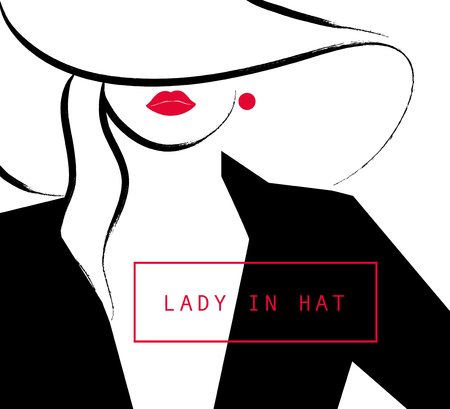 lips close up: Vector artistic hand drawn stylish young lady portrait isolated on white background. Fashion girl, model. Woman in hat. Beauty illustration element design. Fashion poster, placard, banner.
