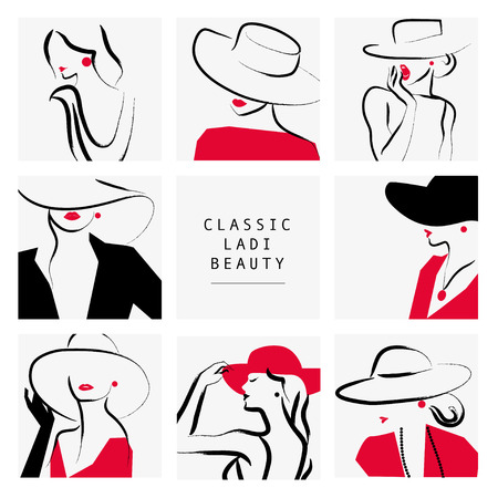 Vector artistic hand drawn stylish young lady portrait set isolated on white background. Fashion girl, model. Woman in hat. Beauty illustration element design. Fashion poster, placard, banner. Stock Illustratie