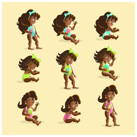 dark hair: Vector baby girl portrait collection isolated. Smiling happy little girl set. Cartoon style. Different pose collection. Summer children illustration. Long dark hair. Flat kid icon.