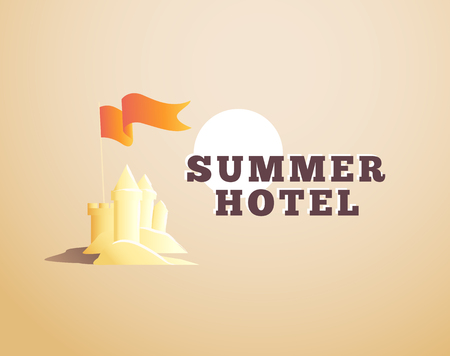 sand castle: Vector emblem, label for summer holiday rest hotel isolated. Sand castle with flag icon. Hotel. Summer sun. Travel agency, company insignia. Summer tour label.