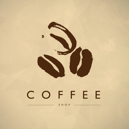 Vector vintage coffee shop emblem design isolated. Coffee store label insignia template. Coffee bean silhouette hand drawn. Coffee seed simple icon.  イラスト・ベクター素材