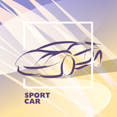 car rent: Vector car sketch isolated. Hand drawn car body. Auto advertising, poster, placard, business card, leaflet. Car rent, auto repair, auto saloon, insignia. Ink drawing.