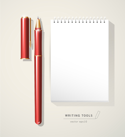 text tool: Vector red metal pen tool with cap isolated on white background. Text space. Writing office tool icon. Metal texture. Writing mock up. Pen close up. Text message. Business, writing illustration.