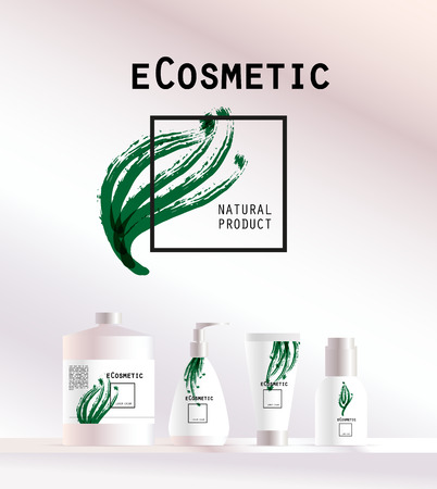 spay: Vector cosmetic insignia isolated on white background. Eco product brand mark. Cosmetic label design template. Cosmetic beauty. Different cosmetic products. Bottle, tube, can, comb, spay, package. Illustration