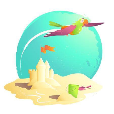 sand castle: Vector summer cartoon illustration. Flat sand castle, bucket, shovel, flag. Summer illustration, book cover, advertisement. Banner, placard, print design. Holiday card. Summer sun.