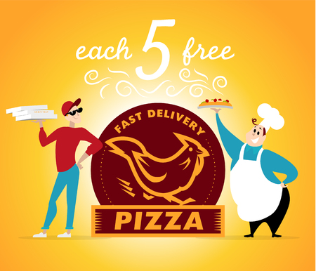 friendly people: Vector flat profession characters. Human profession icon. Friendly, happy people portrait. Pizza delivery. Food people team. Pizza courier. Hen icon. Man, boy, guy icon. Cartoon style. Illustration