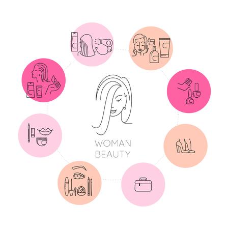 메이크업 지시. 레이디 사용 화장품 로션 크림 그림, 여자 프로 파일 초상화. 절연 플랫 간단한 화장품 아이콘의 벡터 컬렉션입니다. 아름다움 아이콘