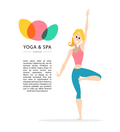 Vector flat friendly smiling girl, woman person character portrait. Smiling lady yoga instructor portrait isolated. Yoga and spa center. Lotus icon. Cartoon style. Human profession icon. Illustration