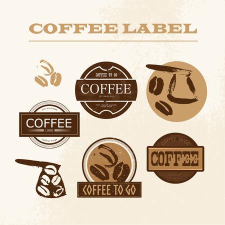 ベクトルエンブレム ビンテージ コーヒー ショップ、分離設定のデザイン。レトロなスタイルのコーヒーは、ラベル、記章のテンプレートを格納し  イラスト・ベクター素材