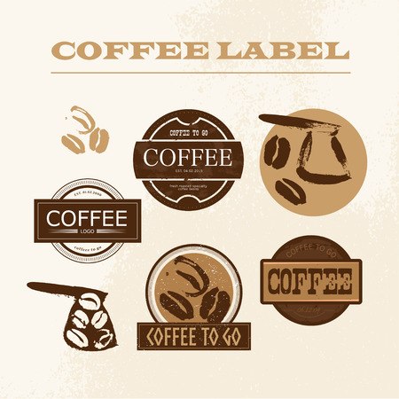 Vector vintage coffee shop emblem, design set isolated. Retro style coffee store label, insignia template. Coffee bean, coffee pot stamp hand drawn. Coffee seed icon. Çizim