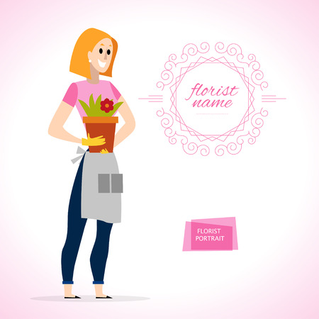 florist: Vector flat friendly smiling person character portrait. Lady florist portrait isolated on white background. Cartoon style. Human profession icon. Awesome smiling woman standing. Illustration