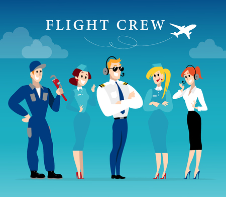 crew: Vector flat profession character. Human profession icon. Friendly happy people portrait.  Business team working group flight crew people set. Woman, girl, lady icon. Man, boy, guy icon. Cartoon style. Illustration