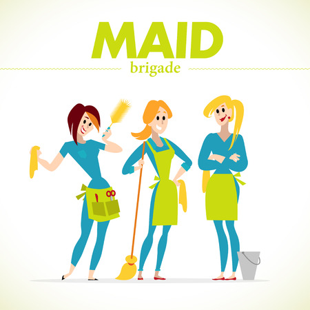 Vector flat profession characters. Human profession icon. Friendly, happy people portrait.  Business team, working group, crew people set. Woman, girl, lady icon. Maid cleaning service. Cartoon style. Illustration