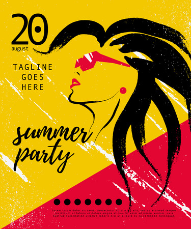 Vector artistic summer party poster, banner, placard, invitation, flayer. Hand drawn stylish young lady in sunglasses portrait with long hair. Fashion girl, model. Beauty illustration.
