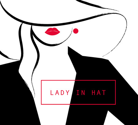 lips close up: Vector artistic hand drawn stylish young lady portrait isolated on white background. Fashion girl, model. Woman in hat. Beauty illustration,  element design. Fashion poster, placard, banner.