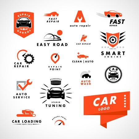Vector flat simple minimalistic car logo. Auto icon isolated on white background. Repair service garage logo, auto tuning studio insignia. Auto design. Auto illustration.