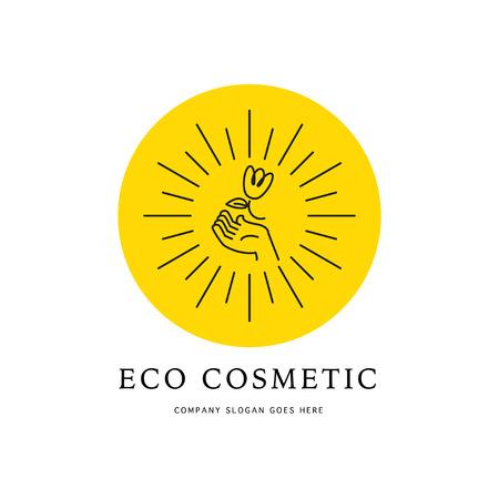 Vector Cosmetic Design. Hand, Sun, Flower Contour Linear Simple ...