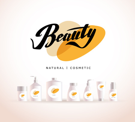 product brand: Vector cosmetic insignia isolated on white background. Eco product brand mark. Cosmetic label design template. Cosmetic beauty. Different cosmetic products. Bottle, tube, can, comb, spay, package. Stock Photo