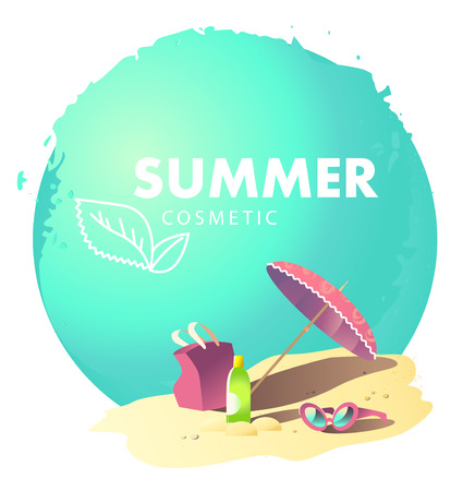 sun cream: Vector flat simple cosmetic isolated. Leaf icon. Health care. Summer care cosmetic brand mark, insignia. Summer holiday illustration. Sea rest accessory, banner, poster, leaflet, flayer, card.