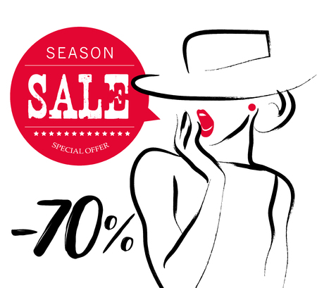 lips close up: Vector artistic hand drawn stylish young lady portrait isolated on white background. Fashion girl, model. Woman in hat. Beauty illustration, element design. Fashion sale poster, placard, banner. Illustration
