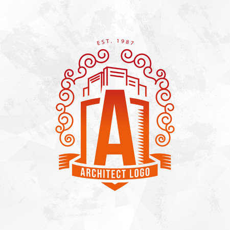 Vector logo flat red city architect studio heraldry design isolated on white background. Architect bureau insignia icon. Building company, construction industry brand mark icon.