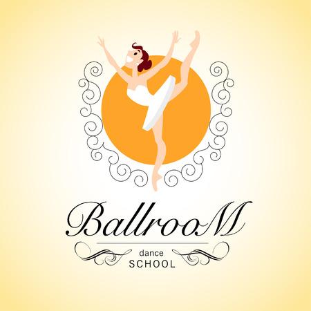 school dance: Vector flat profession character. Human profession icon. Friendly, happy ballerina portrait.  Ballroom school dance design. Woman, girl, lady dancing icon. Cartoon style.